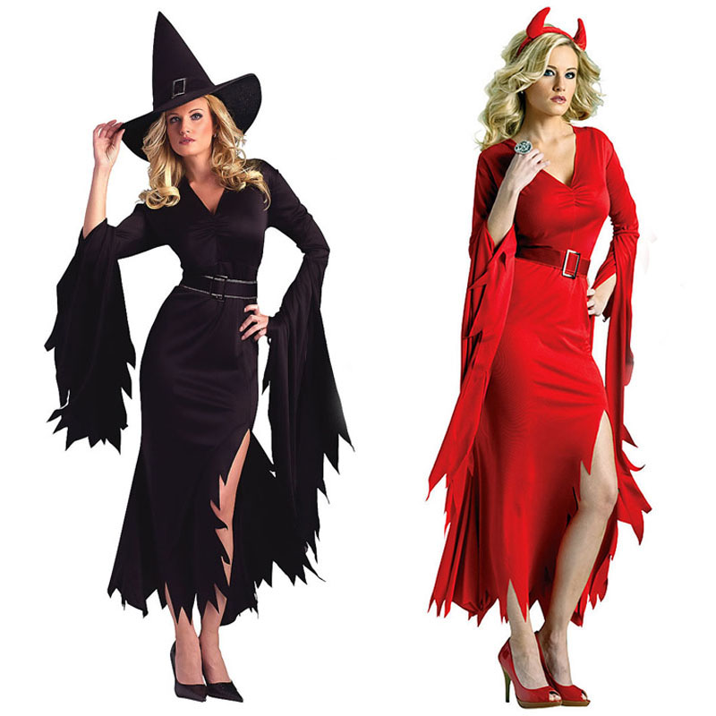 <font><b>Sexy</b></font> Black Red Devil <font><b>Witch</b></font> Cosplay Costume For Adults Lady <font><b>Halloween</b></font> Party <font><b>halloween</b></font> costumes for <font><b>women</b></font> Clothing image