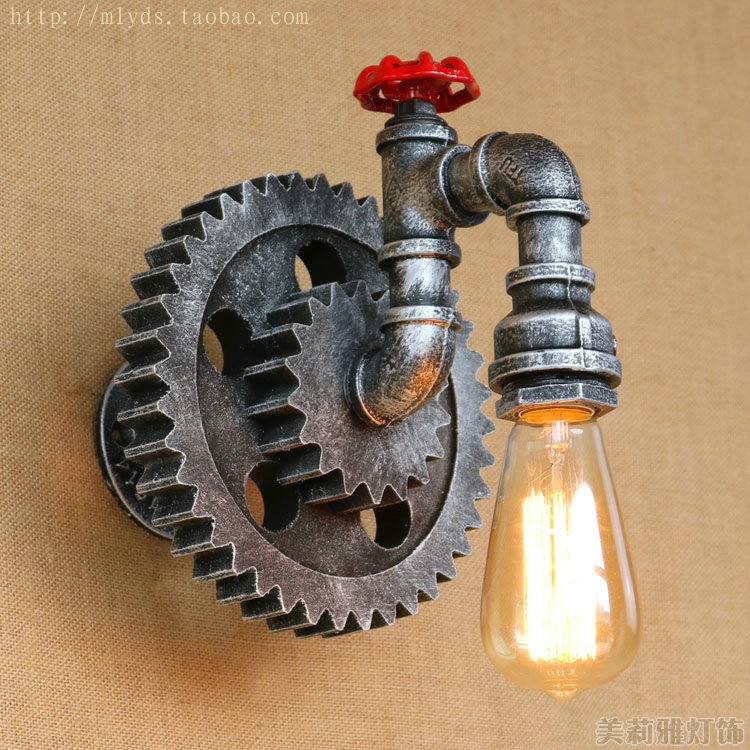 water pipe wall lamp vintage vintage retro loft style industria lighting fixtures fixtures. Black Bedroom Furniture Sets. Home Design Ideas