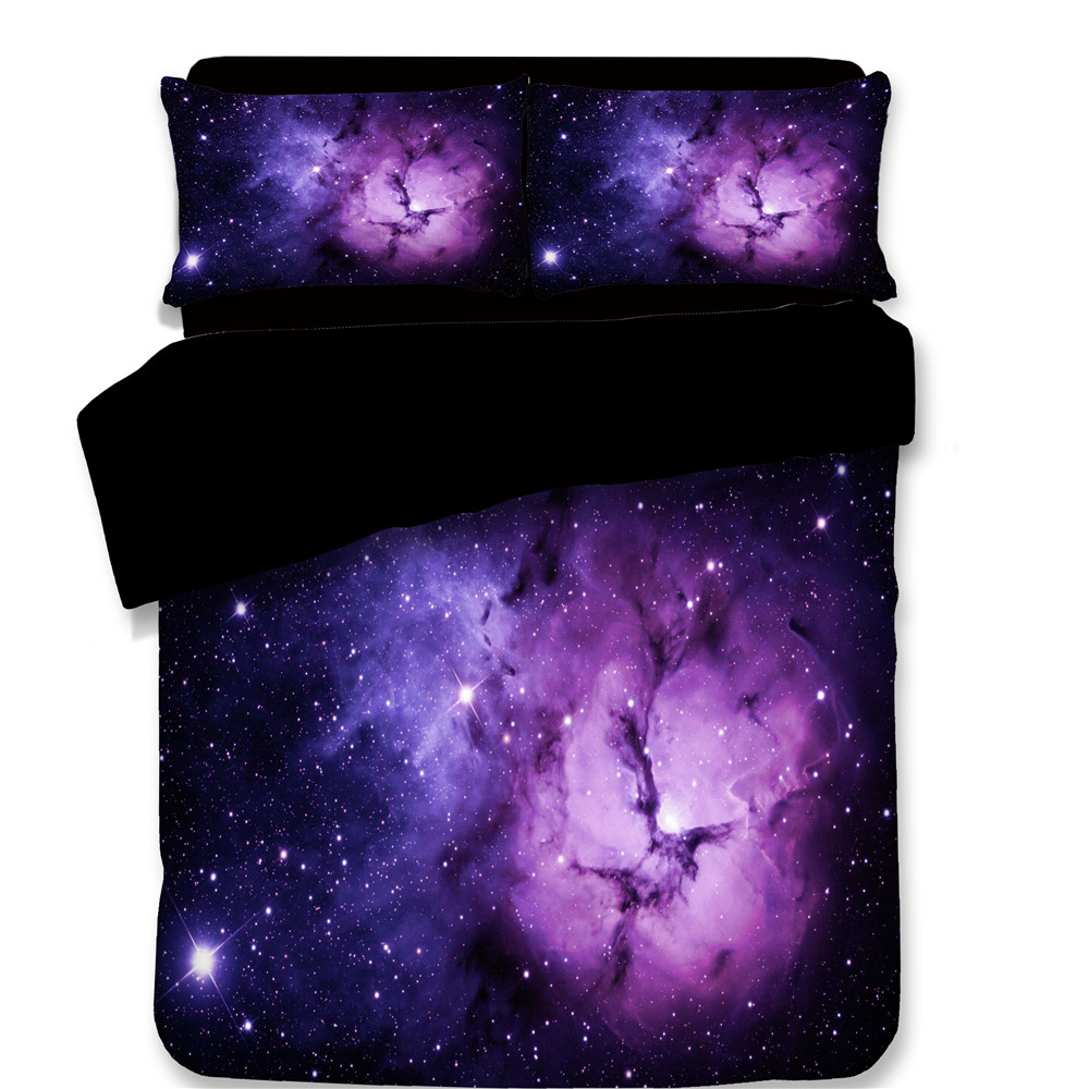 3pcs Bedding Set 3D Personality Printed Star Universe Galaxy Soft Comforter Cover Pillowcase Duvet Cover purple