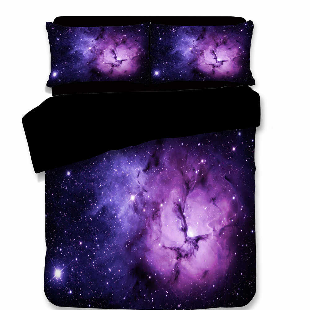 3pcs Bedding Set 3D Personality Printed Star Universe Galaxy Soft Comforter Cover Pillowcase Duvet Cover purple black bedclothes