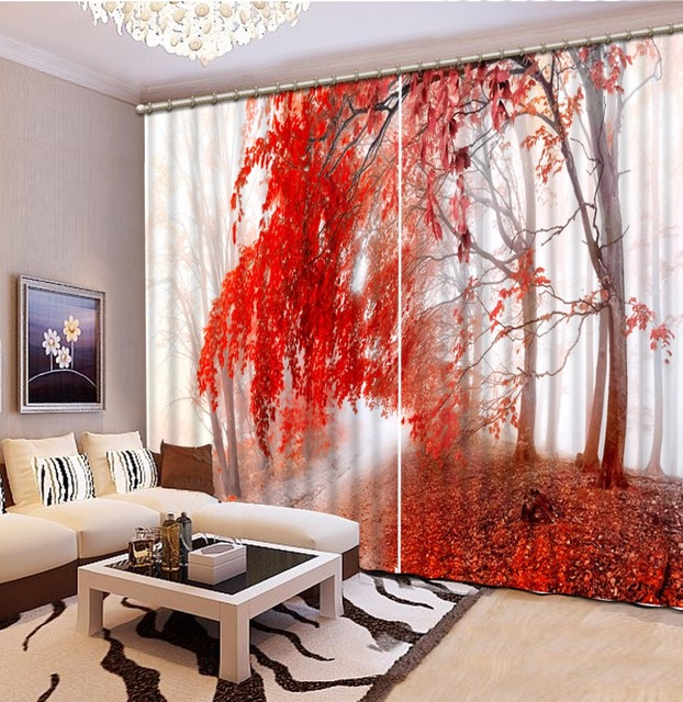 Thickness Polyester/Cotton Blackout Window Curtains Red tree ...