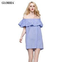 Glorria Women Loose Design White Blue Striped Off the Shoulder Ruffled Mini Dress Casual Fashion Sexy Dresses