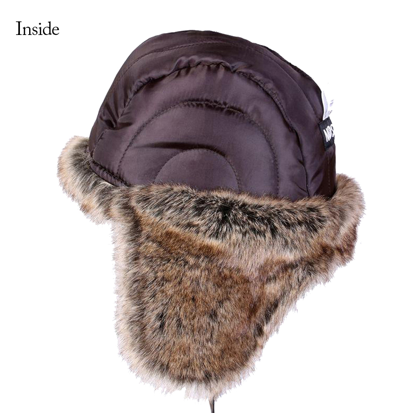 8db68efb3 Winter Bomber Hats Plush Earflap Russian Ushanka with Goggles Men ...