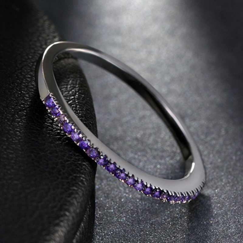 OMHXZJ ขายส่งยุโรปแฟชั่นผู้หญิงสาวงานแต่งงานของขวัญ 9 สี Slim AAA Zircon S925 แหวนเงินแท้ RR303