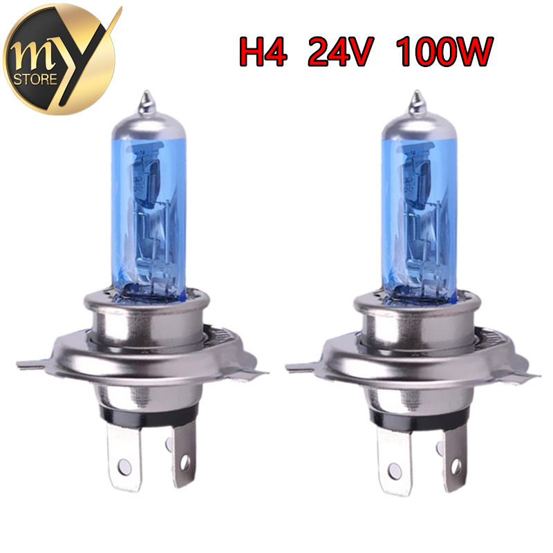 2 stks 24 V H4 100 W Super Heldere Mistlampen Halogeenlamp High Power Koplamp Lamp Auto Lichtbron parkeerkop Wit 100/90 W