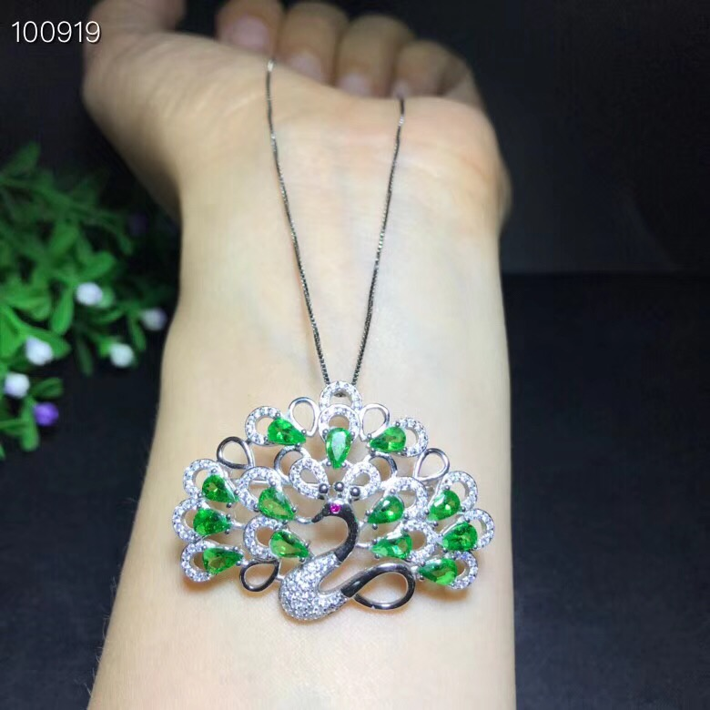 Uloveido Natural Green Diopside Peacock Pendant Necklace for Women 925 Sterling Silver Necklace Pendant for Girls
