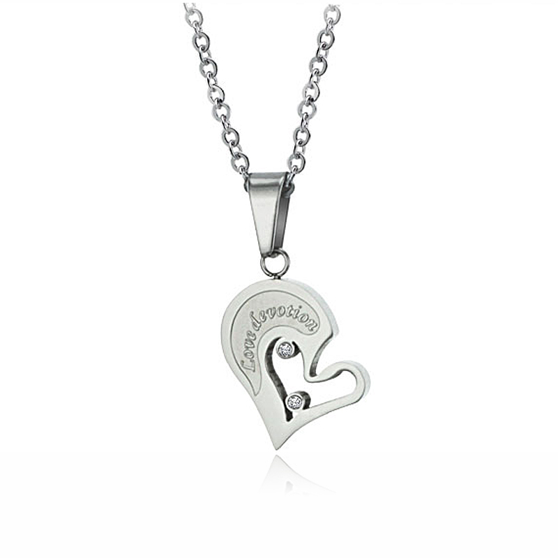 395e3ea0ac His and Her Matching Necklaces Set For Couple Stainless Steel Jewelry Split  Heart Pendant Necklace For Lovers DLQ-in Pendant Necklaces from Jewelry ...