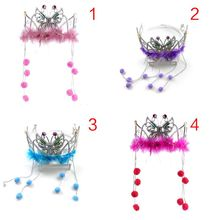 Children Flower Girl Wedding Hairband Hollow Butterfly Crown Tiara Faux Crystal Fluffy Headband Pompom Charm  Princess Headpiece faux crystal inlaid hollow out flower barrette