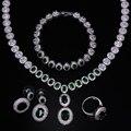 Зеленый кристалл ювелирные изделия Кубический циркон золотое ожерелье наборы 4 шт. комплект ювелирных изделий ожерелье, серьги, браслет, кольцо и ожерелье набор