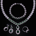 Cristal conjunto de jóias verde Cúbicos zircão conjuntos de colar de ouro 4 pcs colar de jóias conjunto de colar pulseira brincos e anel conjunto