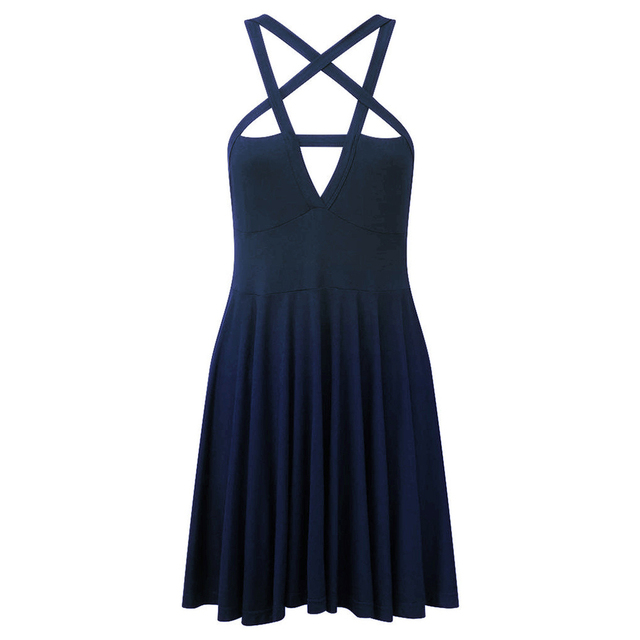 new Sexy Women Five-pointed Star Weave V Neck Sleeveless Backless Gothic Mini Dress 4