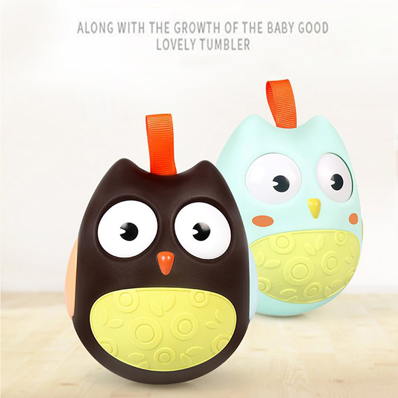 Cute Baby Toys Owl Doll Baby Rattles Gifts Baby Roly Poly Tumbler Toy With Bell Toys For Children