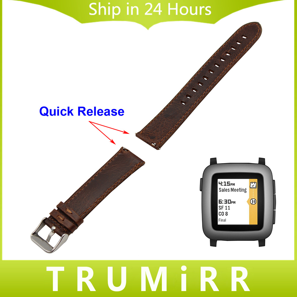 22mm Quick Release Watchband Calf Genuine Leather Strap for Pebble Time / Pebble Time Steel Watch Band Wrist Belt Bracelet Brown genuine leather watch band 22mm for pebble time steel stainless pin buckle strap quick release wrist belt bracelet black brown