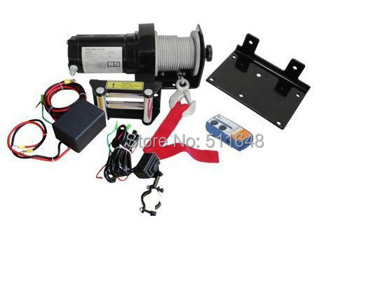 Free Shipping 12V 2000lb ATV Electric Winch with 4mmx15m wire rope