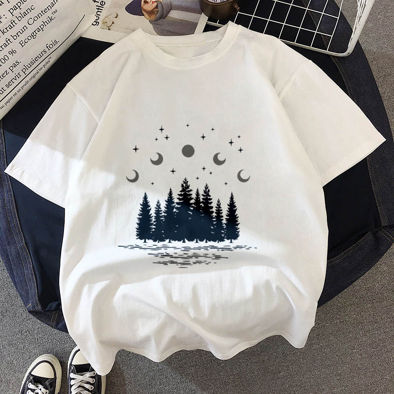 Female Clothing T-Shirt Short-Sleeve Letter White Tops O-Neck Forest-Print Universe Dark