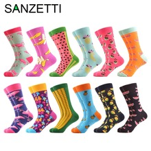 SANZETTI 12 pairs/lot Colorful Mens Combed Cotton Casual Dress Wedding Socks Funny Pineapple Flamingo Pattern Crew Street Wear