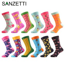 SANZETTI 12 pairs/lot Colorful Men's Combed Cotton Casual Dress Wedding Socks Funny