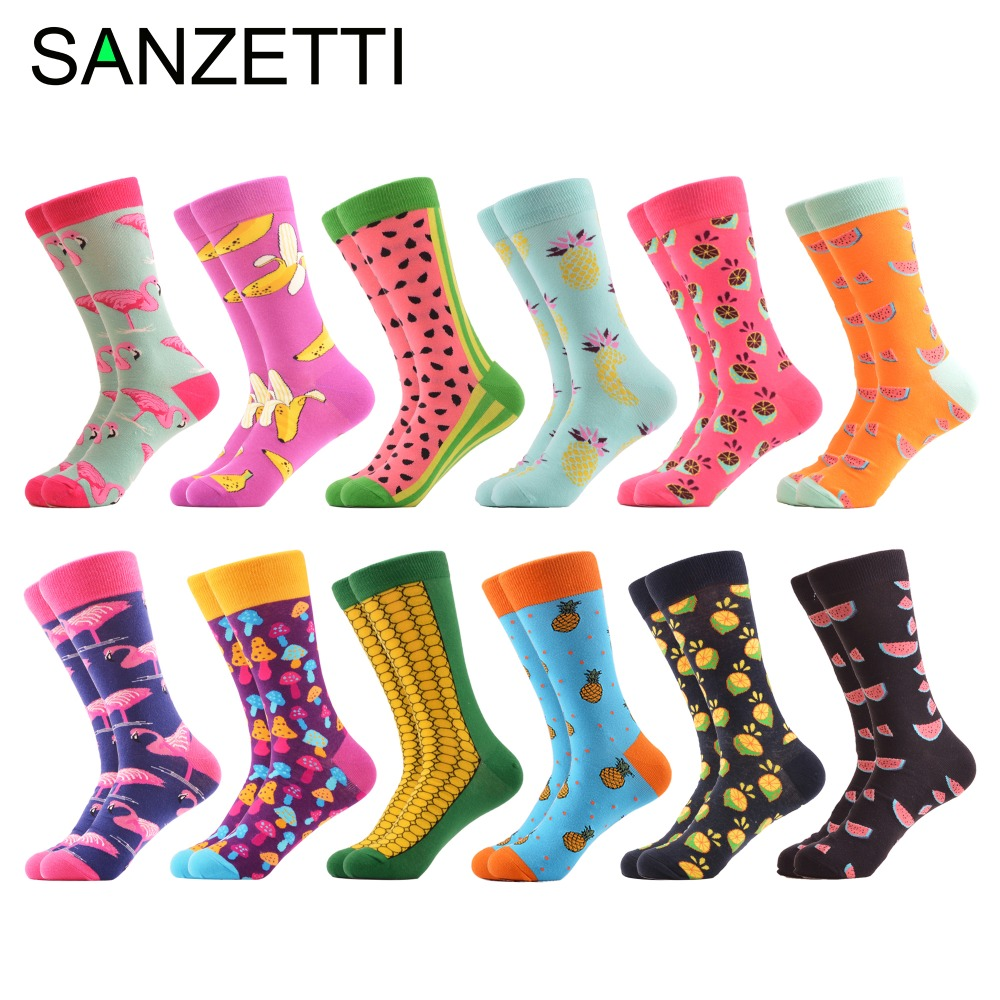 SANZETTI 12 pairs/lot Colorful Men's Combed Cotton Casual Dress Wedding   Socks   Funny Pineapple Flamingo Pattern Crew Street Wear