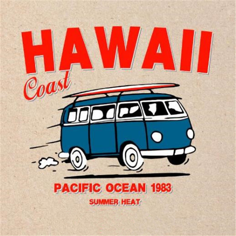 Street Icon 228MM HAWAII Bus <font><b>Car</b></font> <font><b>Patch</b></font> Printing Stickers <font><b>Logo</b></font> Iron on transfer thermocollants t-shirt <font><b>Patches</b></font> for clothes image