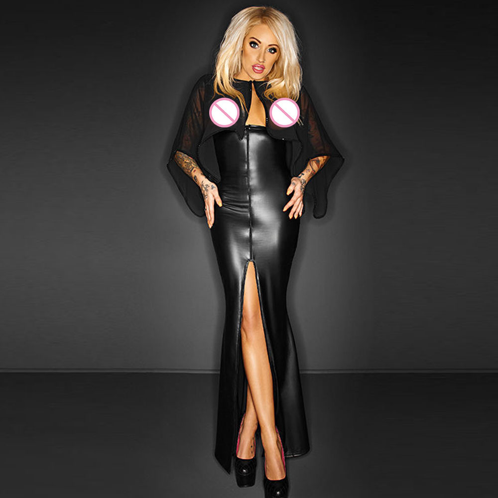 Women Sexy Long Maxi Mesh Club Dress With Cape Wetlook Vinyl Leather Clubwear Gothic Black See Through Party Night Club Dresses