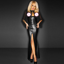 Women Sexy Long Maxi Mesh Club Dress With Cape Wetlook Vinyl Leather Clubwear Gothic Black See Through Party Night Club Dresses cape massage главдор ag16029 with деревяннными inserts with brown mesh pattern 55180