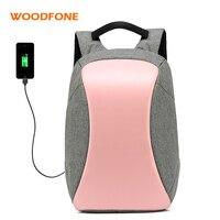 WOODFONE Women Oxford School Backpack Female Travel Waterproof Mochila Anti Theft USB Charging Men For 15