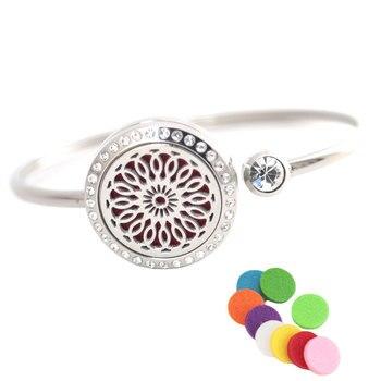 10Pcs New Sunflower Bracelet Bangle Aromatherapy 25mm Magnet Crystal Stainless steel essential oil diffuser locket bracelet