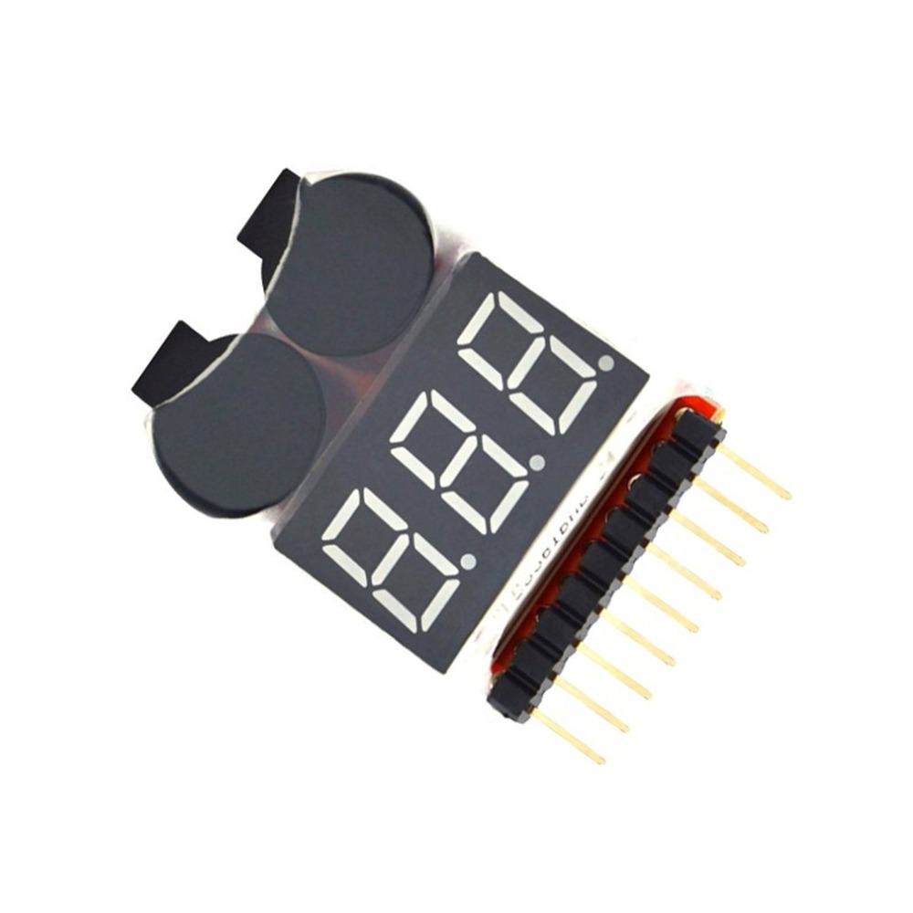 2 In 1 Li-ion RC Lipo Battery Low Voltage Alarm 1-8S Buzzer Indicator Checker Tester LED Display Board Module