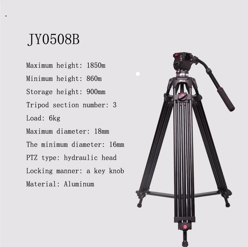 JY0508B 1 8m Aluminum Alloy Camera Tripod Foldable Telescoping DSLR Camcorder Video Photo Tripod with Fluid