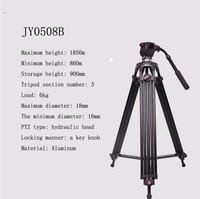 JY0508B 1.8m Aluminum Alloy Camera Tripod Foldable Telescoping DSLR Camcorder Video Photo Tripod with Fluid Drag Head Padded Bag