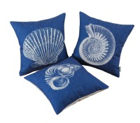 CaliTime Cushion Cover Pillows Shell Home Sofa Decor Blue Sheel Print Combo Set 18 X 18 (45cm X 45cm)