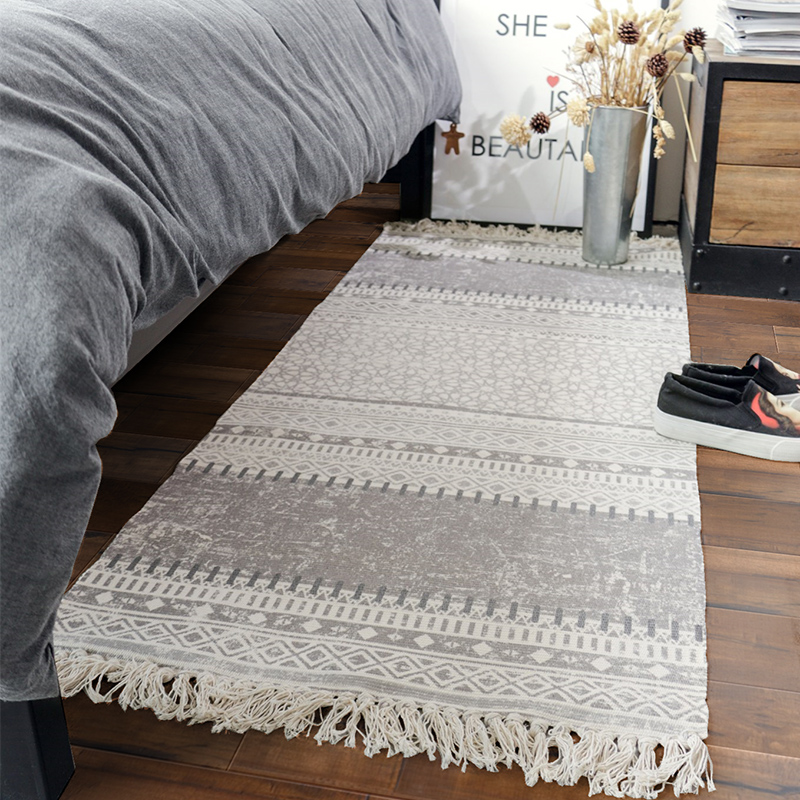 Hot Sale Hand woven thicken cotton carpet bedroom rug kids soft play mats bay window sofa cushion natural fabrics with tassel - 5