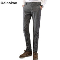 Odinokov Brand Mens Fashion Slim Fit Sanded Chino Dress Pants Trousers Black Blue Grey 3 Colors