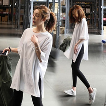 Cotton Summer Slit T-shirt Loose Top Long Pure White Short-Sleeve Female