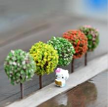 Flower Tree Miniature Figures Tree Figurine decoration Fairy garden Accessories Birthday Cake Car statue resin craft TNB101