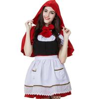 Free PP Cosplay Little Red Riding Hood Costume Fancy Dress Party Halloween Costume for Women XXS 2XL Princess Outfit