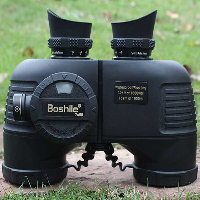 Military Waterproof floating 7X50 Compass Binoculars HD bak4 powerful telescope night vision Nitrogen navy binoculo profissional