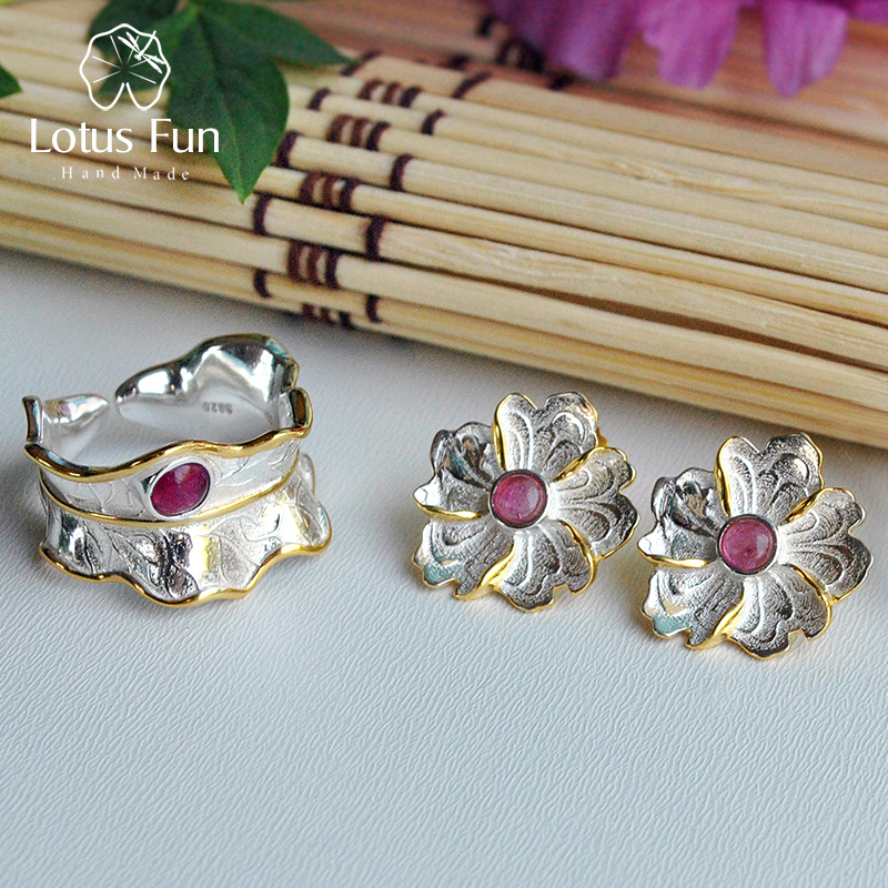 Lotus Fun Real 925 Sterling Silver Natural Tourmaline Handmade Designer Fine Jewelry Peony Flower Jewelry Set