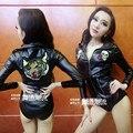 Женские костюмы девушка черный тигр боди сексуальная Джаз танцевальный клуб бар певица певица танцор star производительности шоу ночной клуб бар