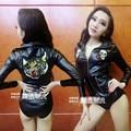 Trajes femininos menina tigre preto bodysuit sexy cantora de jazz dance club bar para star performance show bar boate cantor dançarino