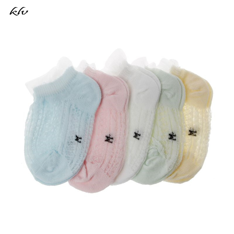 5 Pairs Baby Socks Summers Infant Baby Cotton Mesh Thin Socks Breathable Boys Girls Hollow Lace Socks For Newborns