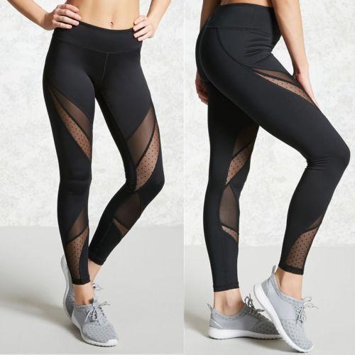 Hot Fashion Mesh Patchwork Leggings School Exercise Women Leggins Female Elastic Pant Capri Women Fitness Leggings