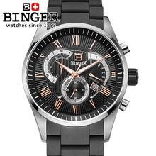 Switzerland men's watch luxury brand Wristwatches BINGER Quartz watch full stainless steel Chronograph Diver glowwatch BG-0407
