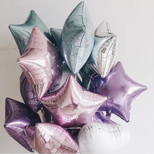 5PCS Baby Shower 18 inch Pink White Star Helium Foil Balloons Girls Happy Birthday Party Supplies 1st Decoration Air Ball