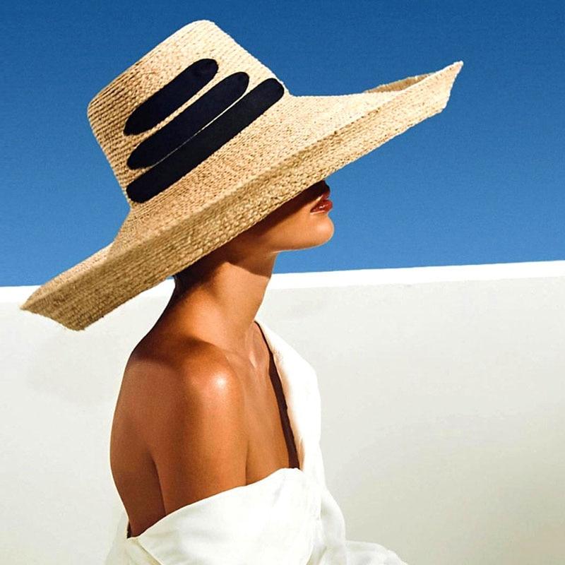 2019 New Fashion Black Bandage Ribbon Ladies Raffia Hat Roll Up Kentucky Derby Sun Large Wide Brim Summer Beach Straw