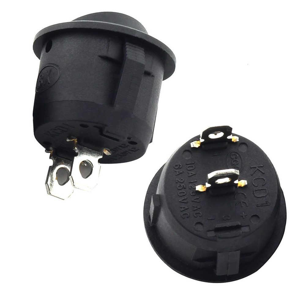 5 pièces petit rond noir 2 broches 2 fichiers 3A/250 V 6A/125 V interrupteur à bascule balançoire interrupteur d'alimentation