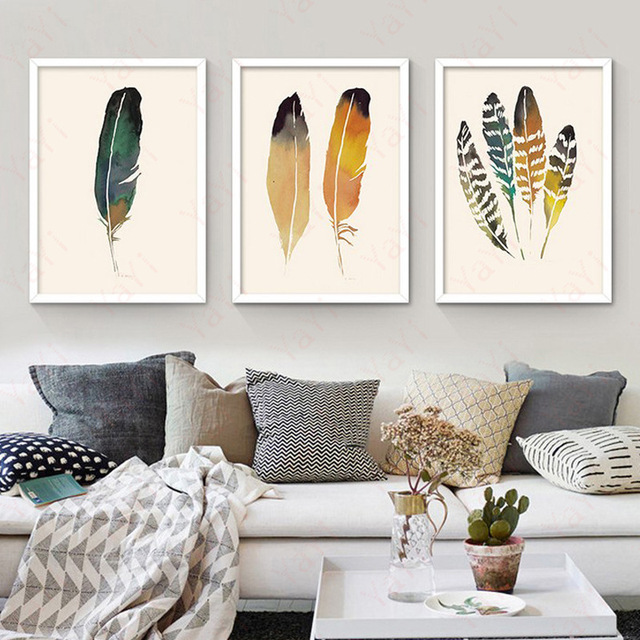 Nordic Minimalism Abstract Painting Feather Leaves Frameless Poster Decorative Picture Modern Home Wall 1pc