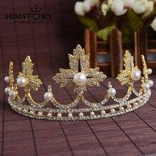Newest Wedding Crystal Faux Pearl Tiara Crowns Princess Queen Pageant  Rhinestone Veil Headband Hair Accessory
