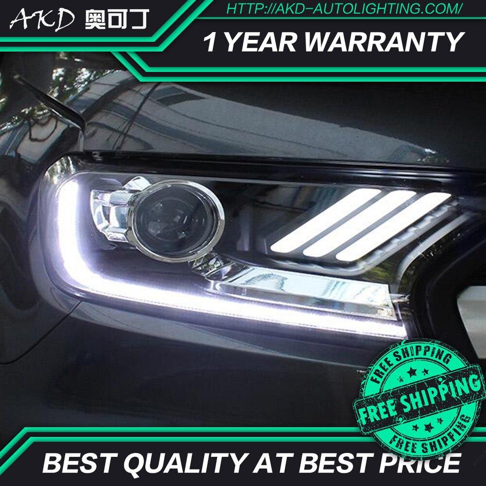 AKD tuning cars Headlight For Ford Ranger Everest Endeavour Mustang Headlights LED DRL Running lights Bi-Xenon Beam Fog lights
