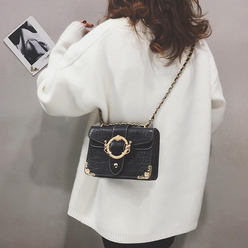 2019 New Women 39 s Shoulder Bag Luxury Handbags Women Bags Designer Fashion Crocodile Pattern Small Square Bag Handbag in Shoulder Bags from Luggage amp Bags